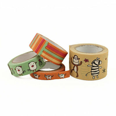 Set of 4 Zoo Animal Themed Washi Tape Set Skinny Wide Planner Craft Scrapbook