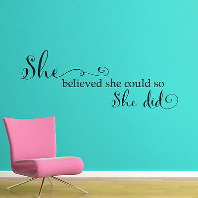 SHE BELIEVED SHE COULD Words Lettering Vinyl Wall Decal
