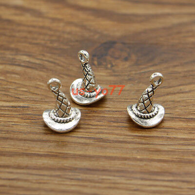 20 Witch Hat Charms 3D Halloween Wizard Charms Antique Silver Tone 11x15x11 - 3d Halloween Charms