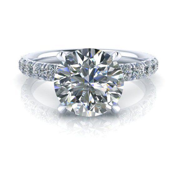 8mm Round Cut Moissanite Wedding Engagement Ring 18k White G