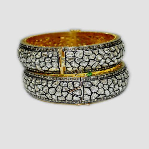 Natural Diamond & Diamond Polki 925 Sterling Silver 2 Pieces Bangle Bracelet