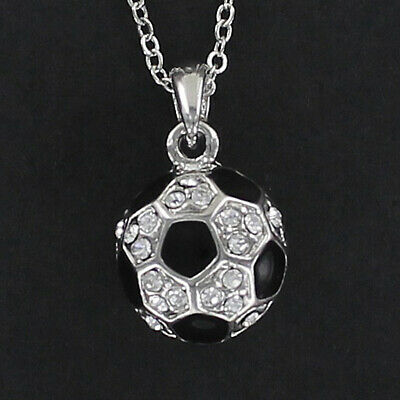 Soccer Ball Necklace - Pewter with Clear Rhinestones Enamel Game Team 3D NEW