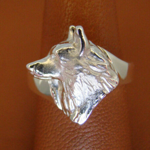 Sterling Silver Siberian Husky Head Study Ring