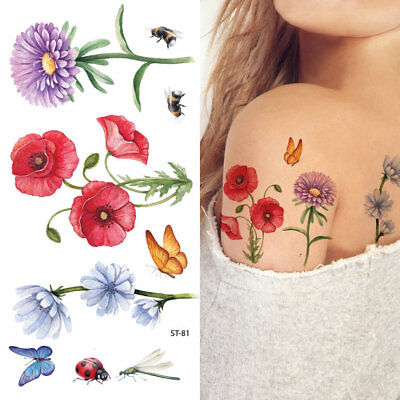 Supperb Temporary Tattoos - Hand drawn Colorful Flower ()