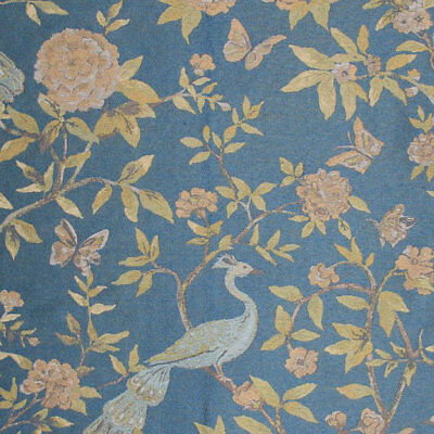 Cotton Rayon Fabric Floral Peacock Bird Peony Butterfly Upholstery Drapery PV3