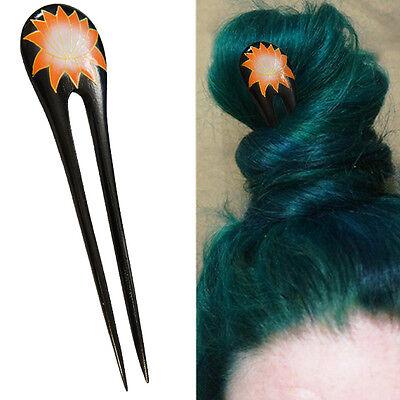 1PC Handcarved Black Paint Exotic Double Prong Hair Stick Orange Lotus Flower - Black Hair Paint
