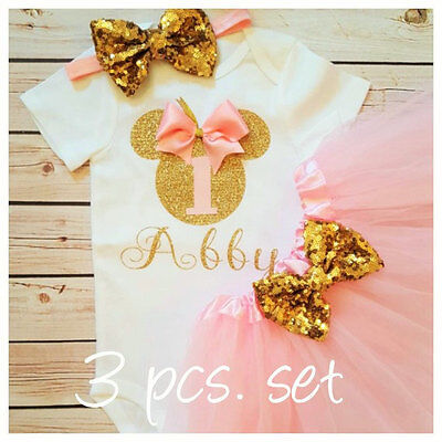 First birthday outfit ,Minnie Mouse Inspired outfit,Pink and gold set,Handmade](Winter First Birthday)