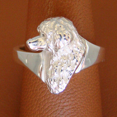Sterling Silver Portuguese Water Dog Head Study Ring