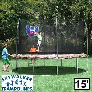 NEW ST 15' JUMP N DUNK TRAMPOLINE SKYWALKER TRAMPOLINES CAMO SAFETY ENCLOSURE BASKETBALL HOOP JUMPING DUNKING JUMP