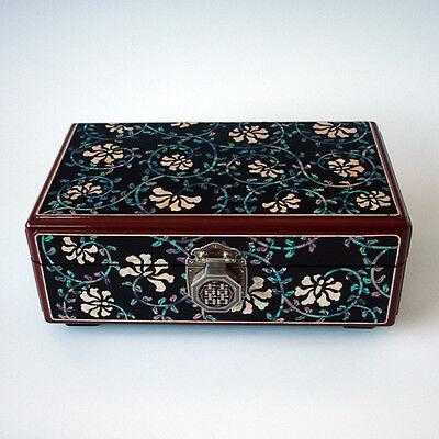 Coffre à Bijoux Traditionnel Nacre Laque Serrure Idéogramme Chinois DOUBLE JOIE