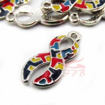 Autism Ribbon Charms 24mm Silver Plated Enamel Awareness Pendants - 2/4/8PCs (Autism Charms)