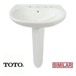 NEW* TOTO PEDESTAL LAVATORY SINK - 112043241 - PROMINENCE COTTON WHITE - BATH BATHROOM SINKS BASIN BASINS FIXTURE FIX...
