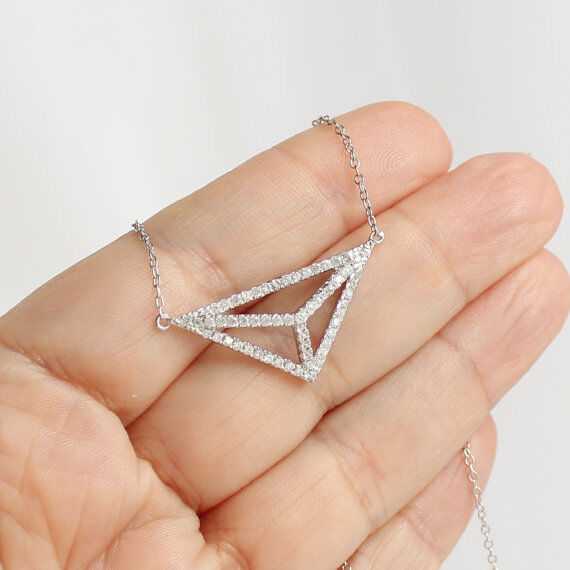Pave CZ Cubic 3D Cutout Triangle Pyramid Necklace Sterling Silver 925 Gold Plate - $19.99