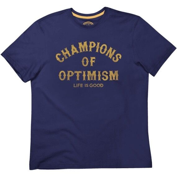NWT~Life Is Good~Mens~OPTIMISM Creamy Tee~S/S~100%Sueded Cotton~Dark Blue~S or M