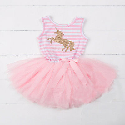 US Toddler Baby Girl Unicorn Party Pageant Dress Sundress Kids Clothes Tutu 0-5T - Kids Clothing Parties