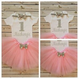 1st Birthday Silver Glitter and Pink Girls Tutu Dress Shirt Headband Outfit Set