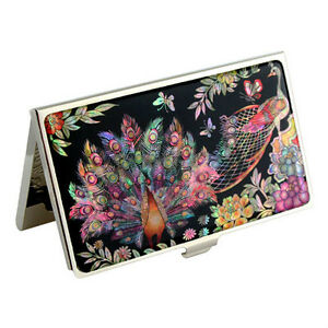 Mother of Pearl Peacock Black Enamel Silver Business Card Holder