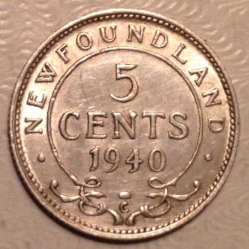 1940 C Newfoundland Canada George VI Five 5 Cents
