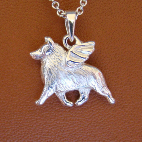 Small Sterling Silver Schipperke Angel Pendant