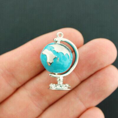 Globe Charm Silver Plated Enamel 3D Fun and Colorful (Enamel Globe)