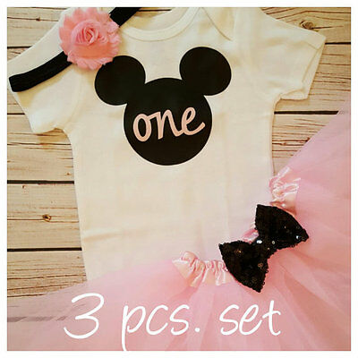 Pink And Black Minnie Mouse Tutu (Minnie Mouse Pink Black White Baby Girl 1st First Birthday Tutu Outfit Tutu)