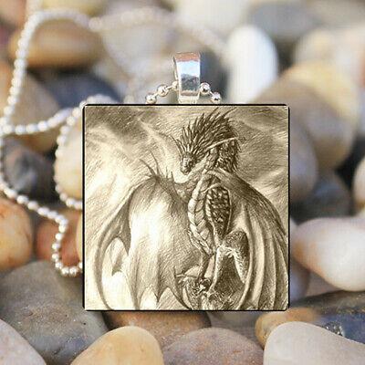 Artist art DRAGON Fairy Tale Fantasy Glass Tile Pendant Necklace (Artist Fairy Necklace)