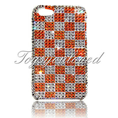 Checker  Crystal BLING BACK CASE FOR IPHONE 7 8 4.7 Made w/ SWAROVSKI ELEMENTS Checker Crystal