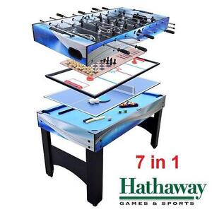 "NEW HATHAWAY 54"" MULTI GAME TABLE 7 IN 1 BILLARDS HOCKEY CHESS TABLE TENNIS FOOSBALL SOCCER PING PONG GAMES SPORTS"