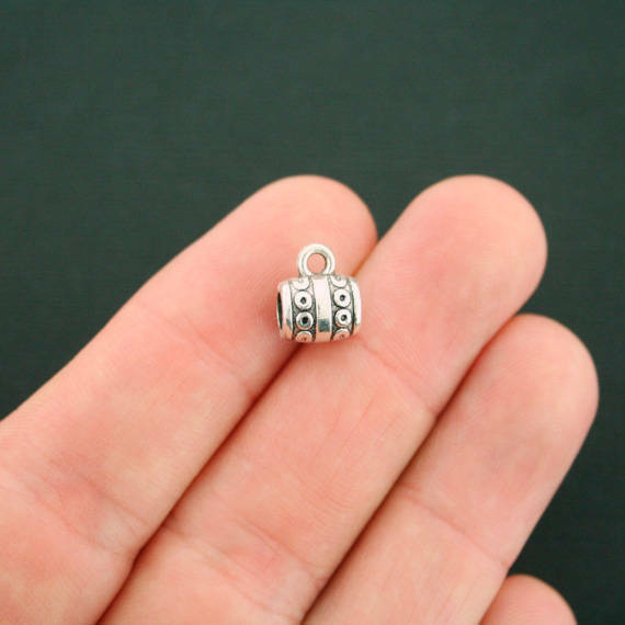 12 Bail Beads Antique Silver Tone 3D Detail Spacer Beads - SC3011