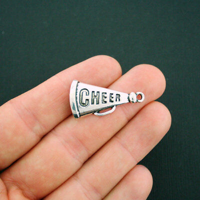 4 Cheer Charms Antique Silver Tone Megaphone - SC5666