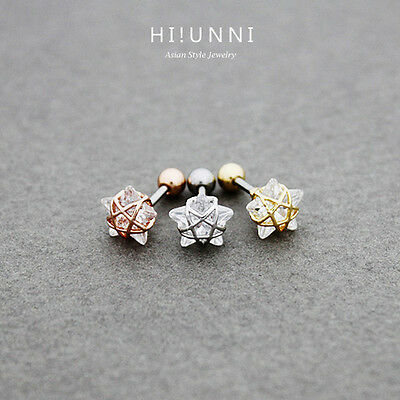 Star Cartilage Earring Stud - 16g Crystal wire frame star cartilage earring stud, conch helix earrings, 1pc