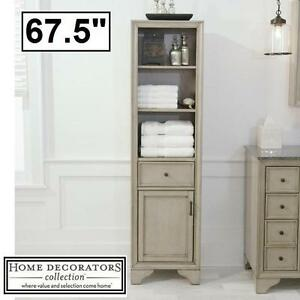 NEW HAZELTON LINEN FLOOR CABINET - 134596278 - HOME DECORATOR ANTIQUE GREY BATHROOM BATH STORAGE CABINETS LINENS