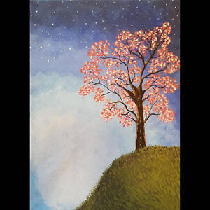 Blossoming tree with night sky