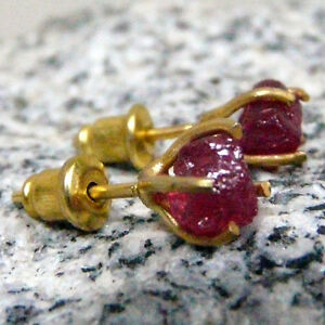 Handmade Hammered Raw Ruby Stud Earrings Yellow Gold over 925K