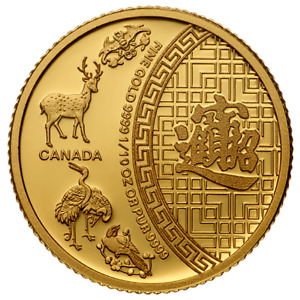 Pièce en or/bullion gold five blessings RCM 2014 1/10 oz