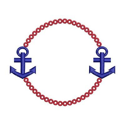 Anchor Nautical Monogram Font Frame Machine Embroidery Designs CD or USB 2 Sizes Font Frames Embroidery Design