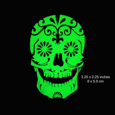 Sugar Skull - 3.25 x 2.25 Inches - Glow in the Dark Decal, Laptop, Phone, Mac