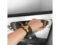 GUCCI Bracelet, red green stripe, gold bee