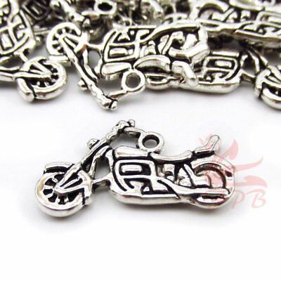 Motorcycle Charms 24mm Antiqued Silver Plated Pendants SC0003298 - 8/15/30PCs ()