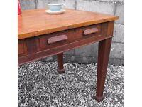 Vintage Mid Century Antique Oak Desk - Large 1950s 1960s Desk