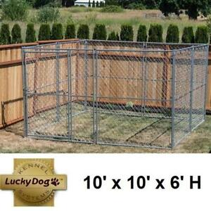 NEW* LUCKY DOG CHAIN LINK KENNEL CL 49150 136450693 10' x 10' x 6' H KENNELS FENCE FENCING HOLDING PEN PENS CAGE CAGE...