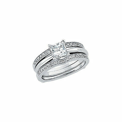 1.34 Carat Princess-Cut Diamond Enhancer Guard Wrap Ring In Real 14k White Gold
