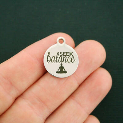 Yoga Stainless Steel Charms - Seek Balance - BFS2771 (Yoga Charms)