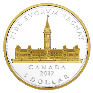 Canada 2017 Parliament Building Renewed Silver Dollar