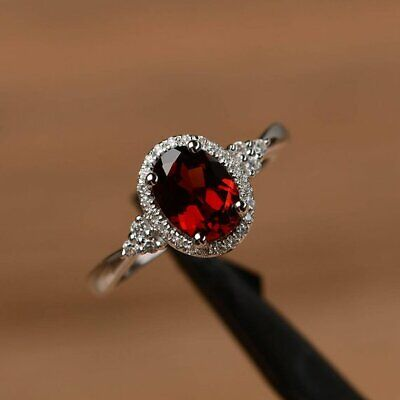 2Ct Oval Cut Red Garnet Diamond Halo Engagement Ring Solid 14K White Gold Finish