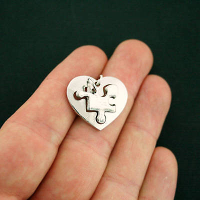 Puzzle Piece Charm (2 Heart Puzzle Piece Charm Sets Antique Silver Tone 2 Piece Set -)