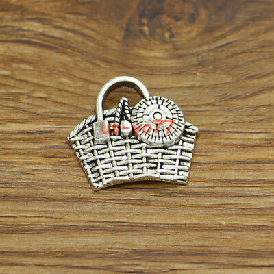 10 Basket Charms Wicker Picnic Gift Basket DIY Charms Antique Silver 25x22 3165