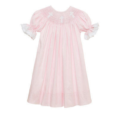 Christening Pink Cross (New Smocked Cross pink bishop dress with lace 6m - 3t Baptism Easter)