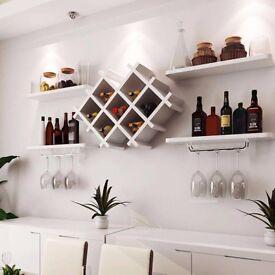 White Wall Mount Wine Rack Bottle Glass Holder 4 Shelves WHITE Bar Accessories Shelf 7 Bottles