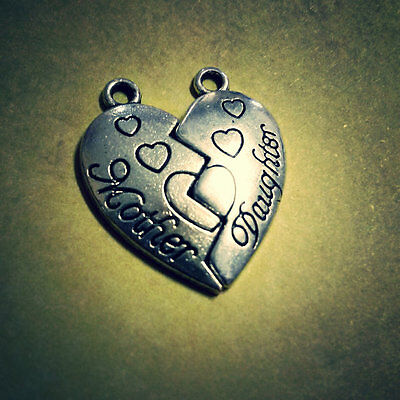 Heart Charms Antiqued Silver Mother Daughter Friendship Charms Broken Heart Set](Mother Daughter Charms)